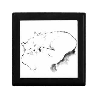 Doris Day Z, cat Sumi-e [ink painting] Trinket Boxes