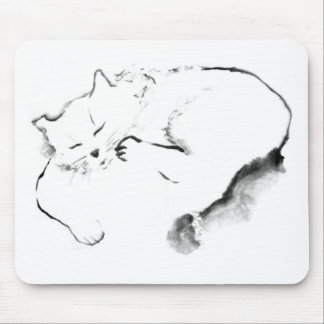 Doris Day Z cat Sumi-e ink painting Mouse Pads