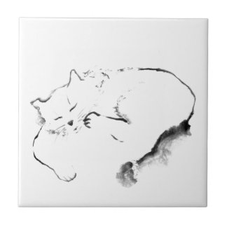 Doris Day Z, cat Sumi-e [ink painting] Tile