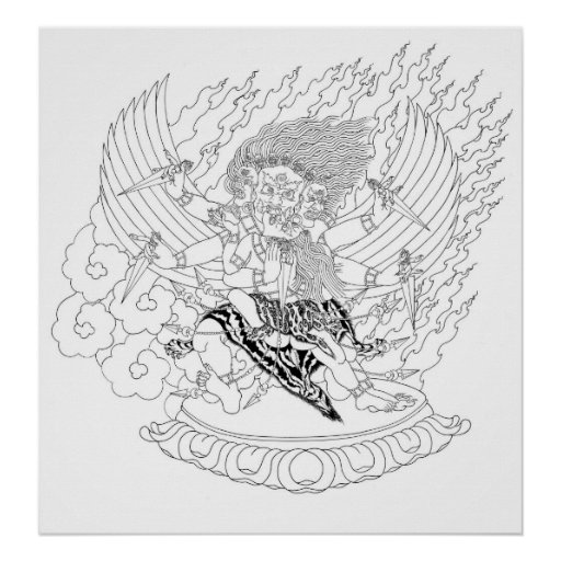 Line Art Poster : Dorje phurba line drawing poster zazzle
