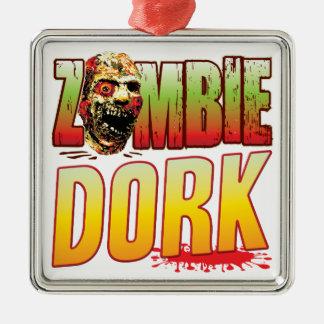 Dork Zombie Head Square Metal Christmas Ornament