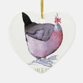 DORKING hen, tony fernandes Double-Sided Heart Ceramic Christmas Ornament