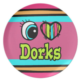 Dorks brillantes del amor del corazón I del ojo Platos Para Fiestas
