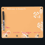 """Dorm Message Board - &quot;With flourish&quot;<br><div class=""""desc"""">Let your board deal with people at your door! A versatile way to let people communicate with you, whether you are in or out. A friend can always leave something by hanging it on the hook. (Suggested addition: use a fun ornament, ribbon, key chain, you-name-it as your marker, to indicate...</div>"""