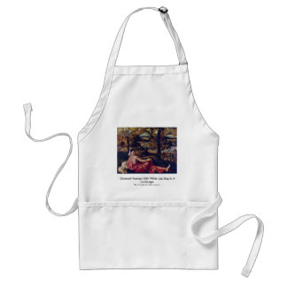 Dormant Woman With White Lap Dog In A Landscape Adult Apron