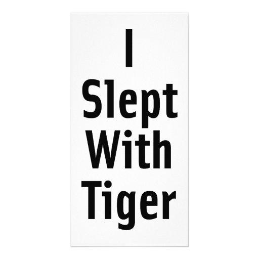 Dormí con el tigre tarjeta con foto personalizada
