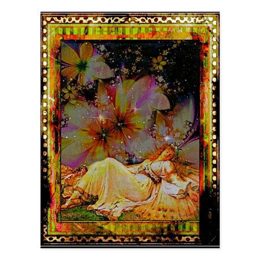 Dormido en el jardín tarjetas postales