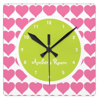 Dormitorio de la cal y del chica rosado de la impr reloj cuadrado