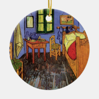 Dormitorio de Van Gogh Vincent en Arles, bella Adorno Navideño Redondo De Cerámica