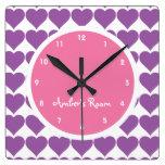 Dormitorio del rosa y del chica de la impresión de relojes