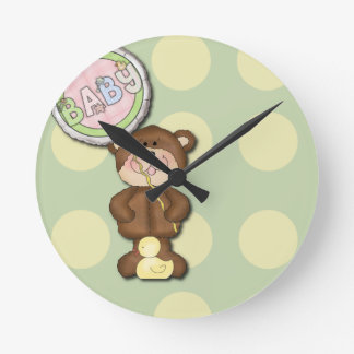 Dormitorio unisex del cuarto de niños del oso de p relojes de pared