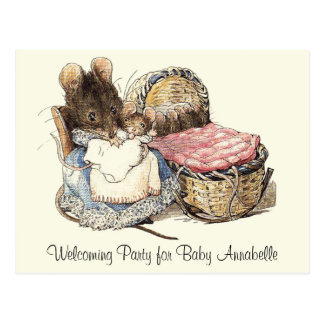 Dormouse Mother and Child Party Invitation Postcard