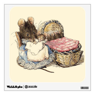 Dormouse Mother and Child Wall Sticker