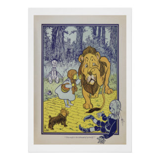 Dorothy and Cowardly Lion, Wizard of Oz Vintage Poster