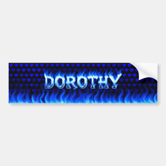 Dorothy blue fire and flames bumper sticker design