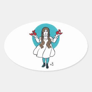 Dorothy: El mago de Oz maravilloso Calcomanía Oval Personalizadas