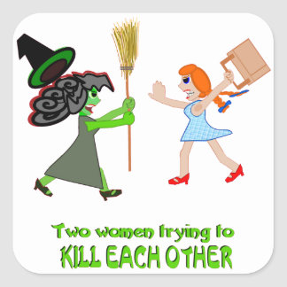 Dorothy, Elphaba, and a pair of shoes Square Sticker