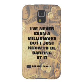 Dorothy Parker millionaire quote money background Galaxy S5 Case