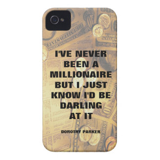 Dorothy Parker millionaire quote money background iPhone 4 Cover