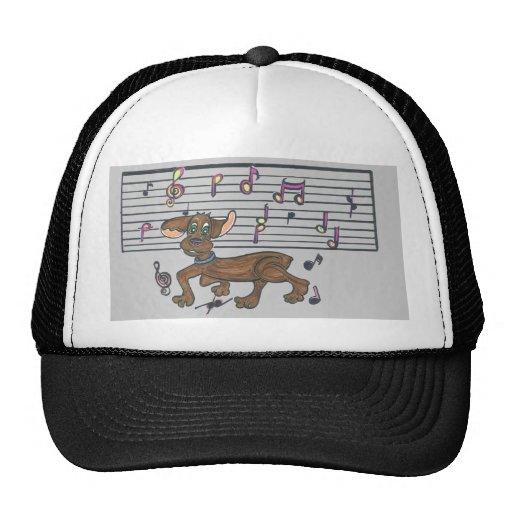 Dorothy the Dachshund dancing on a trucker hat