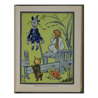 Dorothy, Toto, and Scarecrow Poster