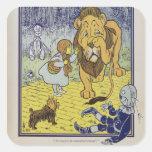Dorothy y el león cobarde de mago de Oz Calcomania Cuadradas Personalizadas