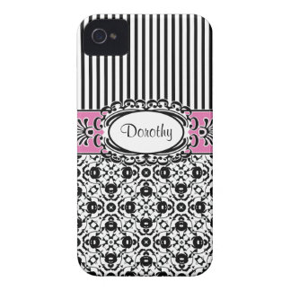 Dorothy's Dallas Pink and Black Damask and Stripes iPhone 4 Cover