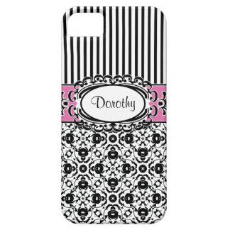 Dorothy's Dallas Pink and Black Damask and Stripes iPhone SE/5/5s Case