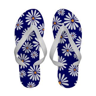 Dorris Day Daisies on Dark Blue Flip Flops