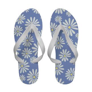 Dorris Day Daisies on Light Blue Flip Flops
