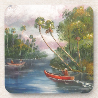 Dorsal Fishing Post - Fish Camp St. Lucie River Drink Coaster