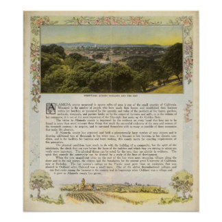 Dorso el condado de Alameda, Oakland y la bahía Poster