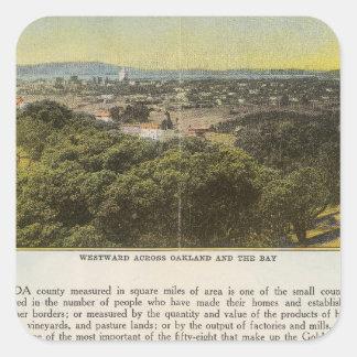 Dorso el condado de Alameda, Oakland y la bahía Pegatina Cuadrada