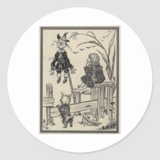 Dorthy, Scarecrow And Toto Classic Round Sticker