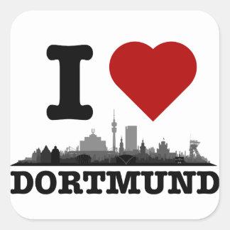 Dortmund town center of skyline - other gift ideas square sticker