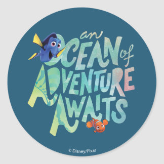 Dory & Nemo | An Ocean of Adventure Awaits Classic Round Sticker