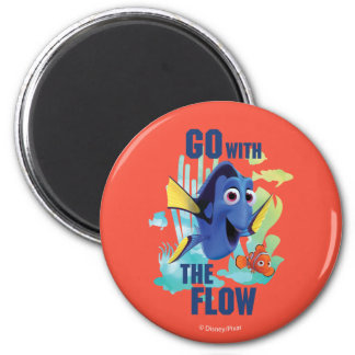 Dory & Nemo | Go with the Flow Watercolor Graphic 2 Inch Round Magnet