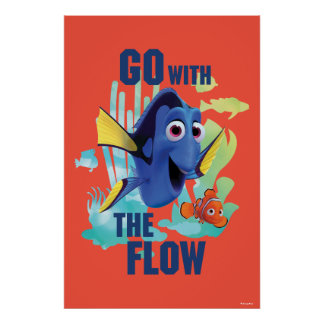 Dory & Nemo   Go with the Flow Watercolor Graphic Poster