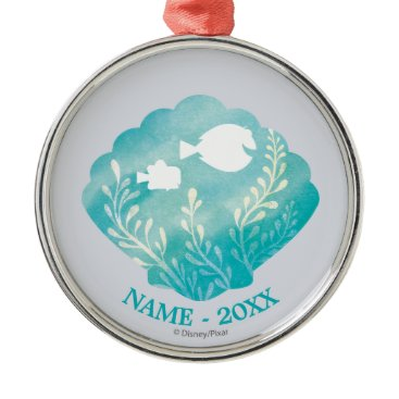Disney Themed Dory & Nemo | Shell Graphic Add Your Name Metal Ornament