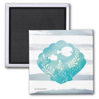 Dory & Nemo | Watercolor Shell Graphic 2 Inch Square Magnet