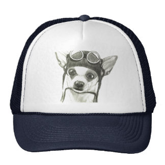 Dory the Chihuahua as the WWI Flying Ace Trucker Hat