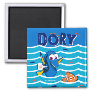 Dory y amor de Nemo a nadar Imán Cuadrado