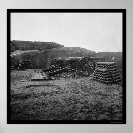 Dos 100 armas y cáscaras 1865 de Parrott del tritu Poster