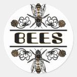 dos abejas con el trébol trans1 etiqueta redonda