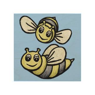 Dos abejas lindas en azul cuadros de madera