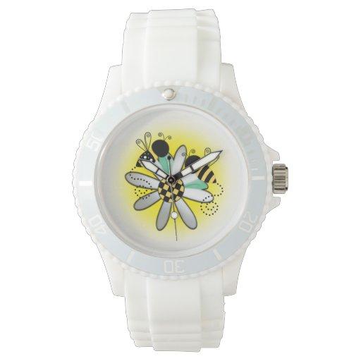 Dos abejas y una margarita reloj de mano