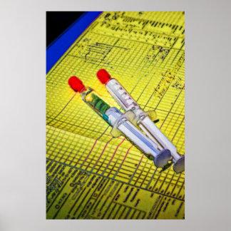Dos agujas en carta médica impresiones
