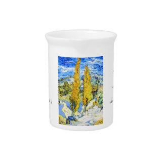 Dos álamos en una colina Vincent van Gogh Jarra Para Bebida