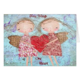Dos alas un corazón tarjeta pequeña
