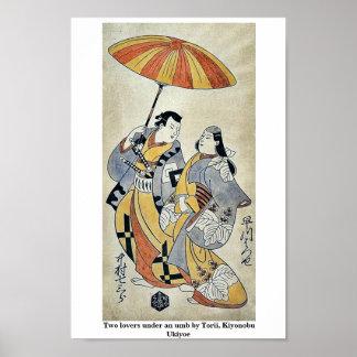 Dos amantes bajo umb por Torii, Kiyonobu Ukiyoe Posters